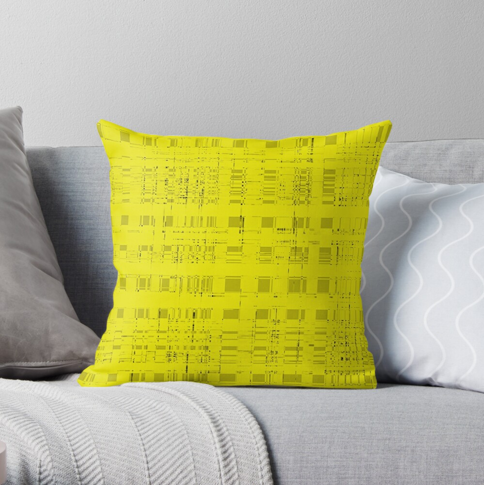 QUANTUM FIELDS ABSTRACT [2] YELLOW [1] Throw Pillow