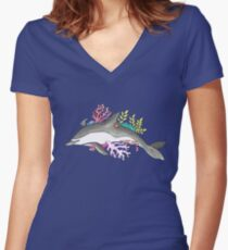 Coral Dolphin Women's Fitted V-Neck T-Shirt