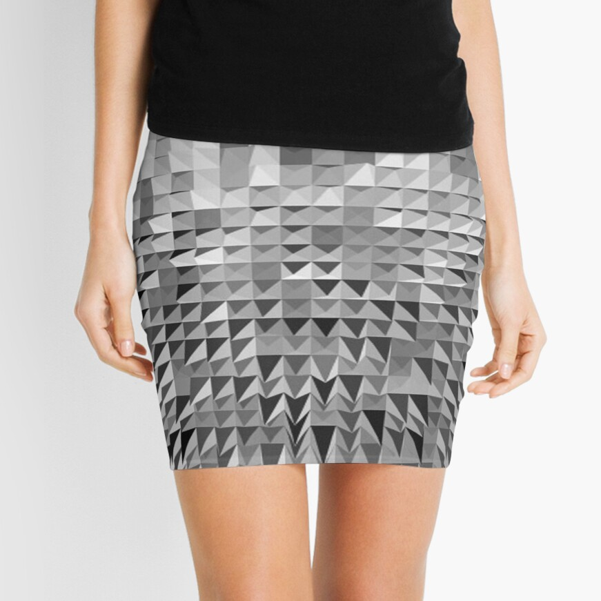VISION OF THOUGHT ABSTRACT [1] GREY [1] Mini Skirt