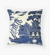 Antique willow ware Throw Pillow