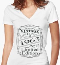 55th Birthday Design - Vintage Born 1963 Limited Edition Women's Fitted V-Neck T-Shirt