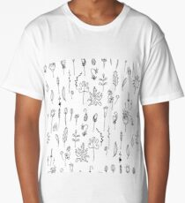 Floral seeds.Black and white.  Long T-Shirt