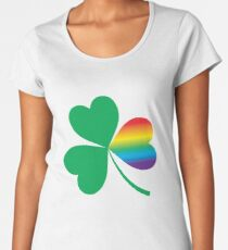 St. Patrick's Day Shamrock With LGBT Rainbow Twist Women's Premium T-Shirt
