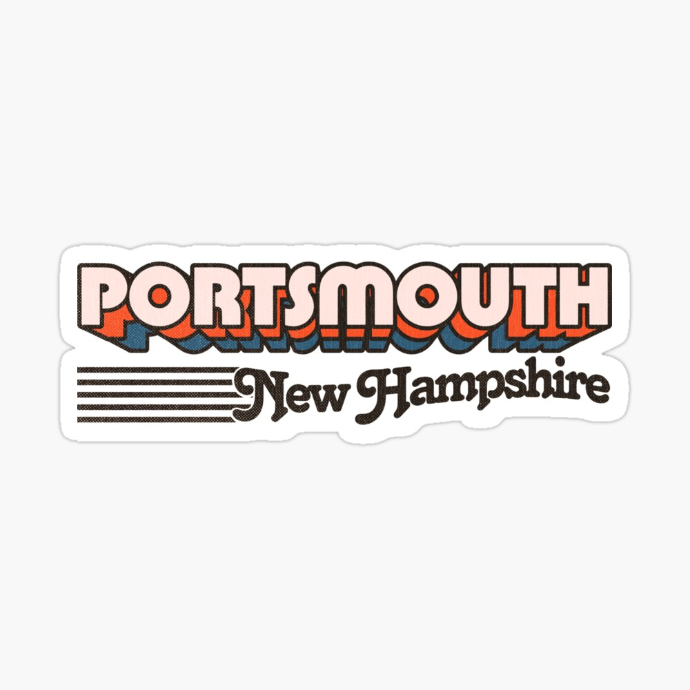 Portsmouth, New Hampshire   Retro Stripes Sticker