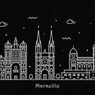 Marseille Skyline Minimal Line Art Poster by A Deniz Akerman