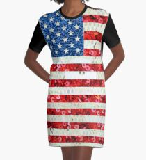 American Flag Sequin Glitter Look Patriotic USA Graphic T-Shirt Dress