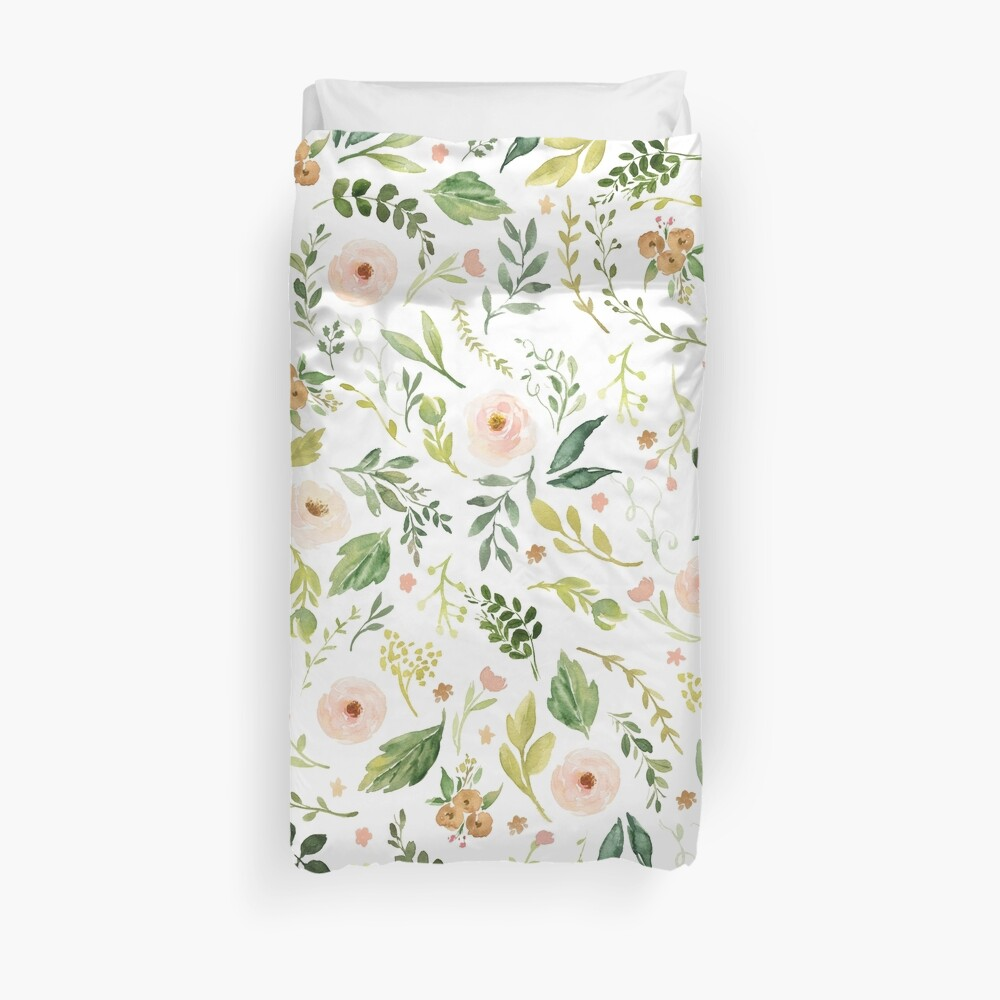 Botanical Spring Flowers  Duvet Cover