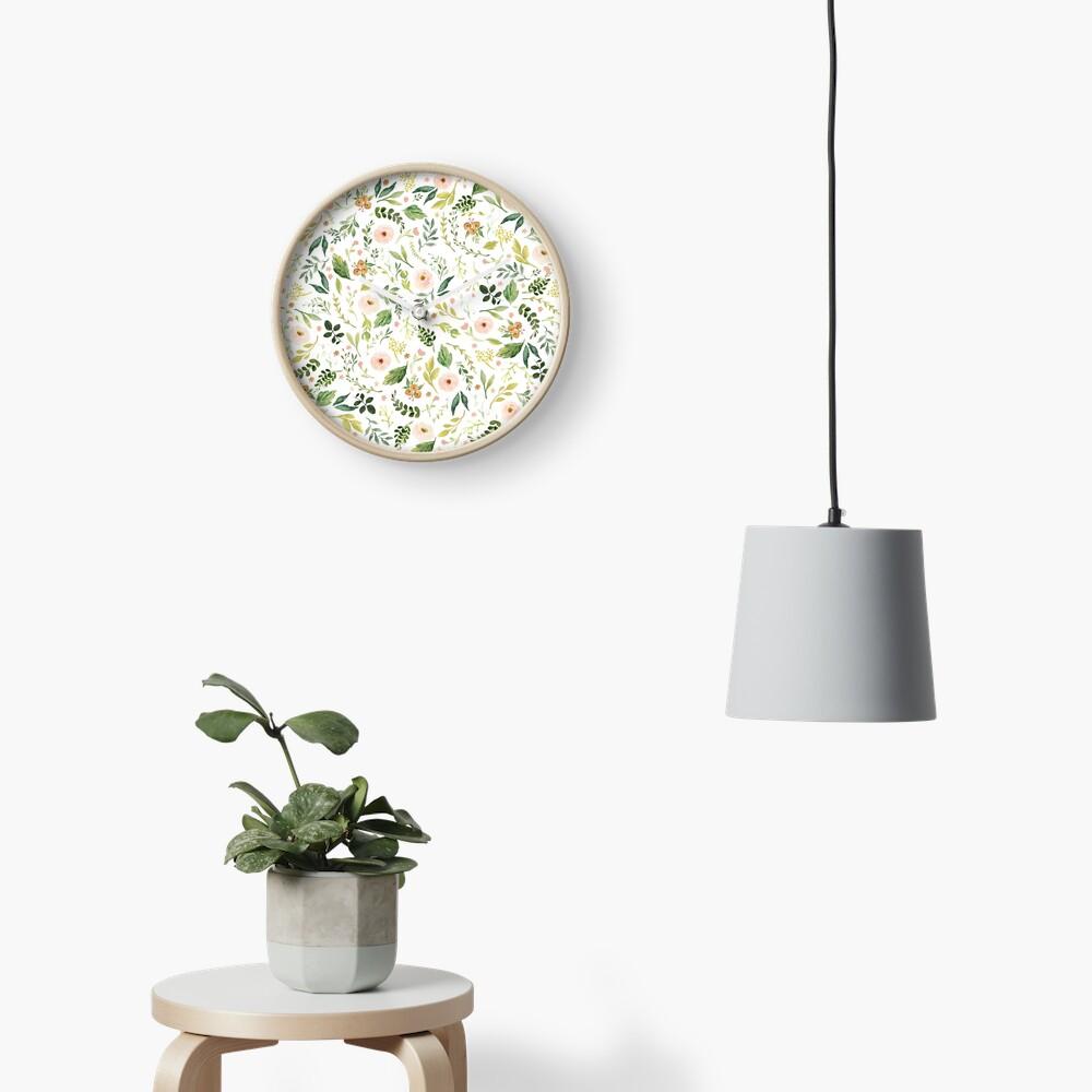 Botanical Spring Flowers  Clock