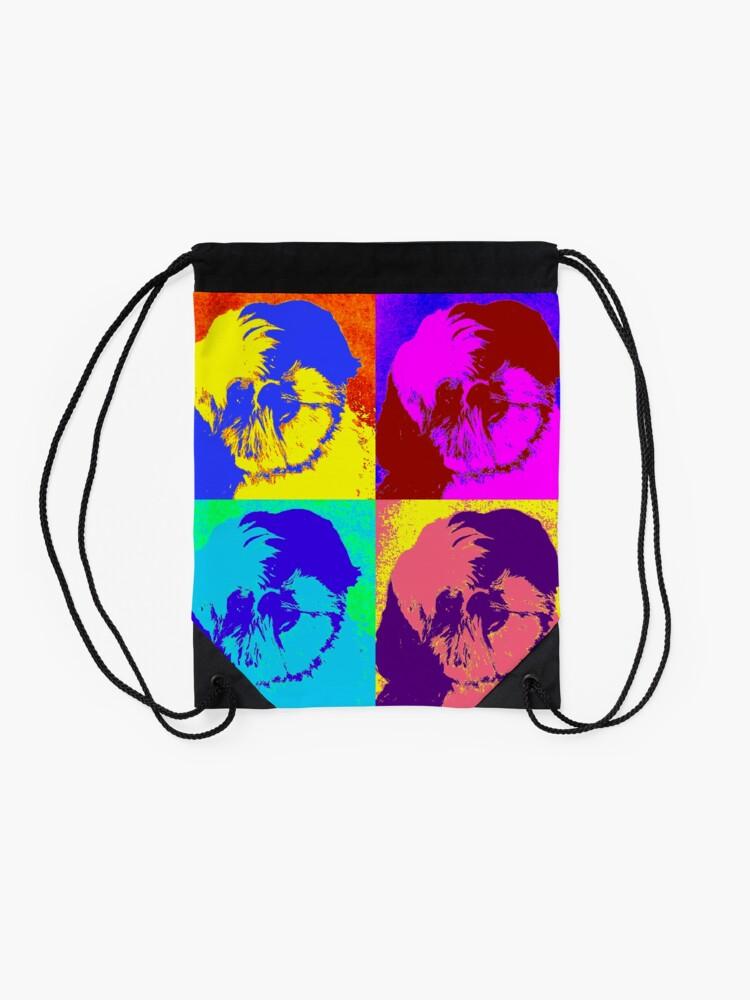 Alternate view of Shih Tzu Pop Art  Drawstring Bag