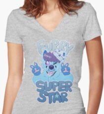 FURRY SUPERSTAR - color Women's Fitted V-Neck T-Shirt