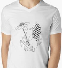 Mouse and flowers  Men's V-Neck T-Shirt