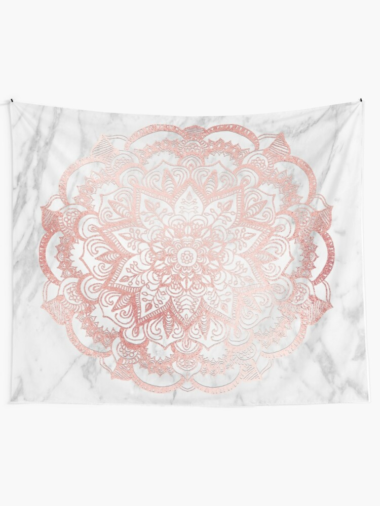 Alternate view of Rose Gold Mandala Star Tapestry