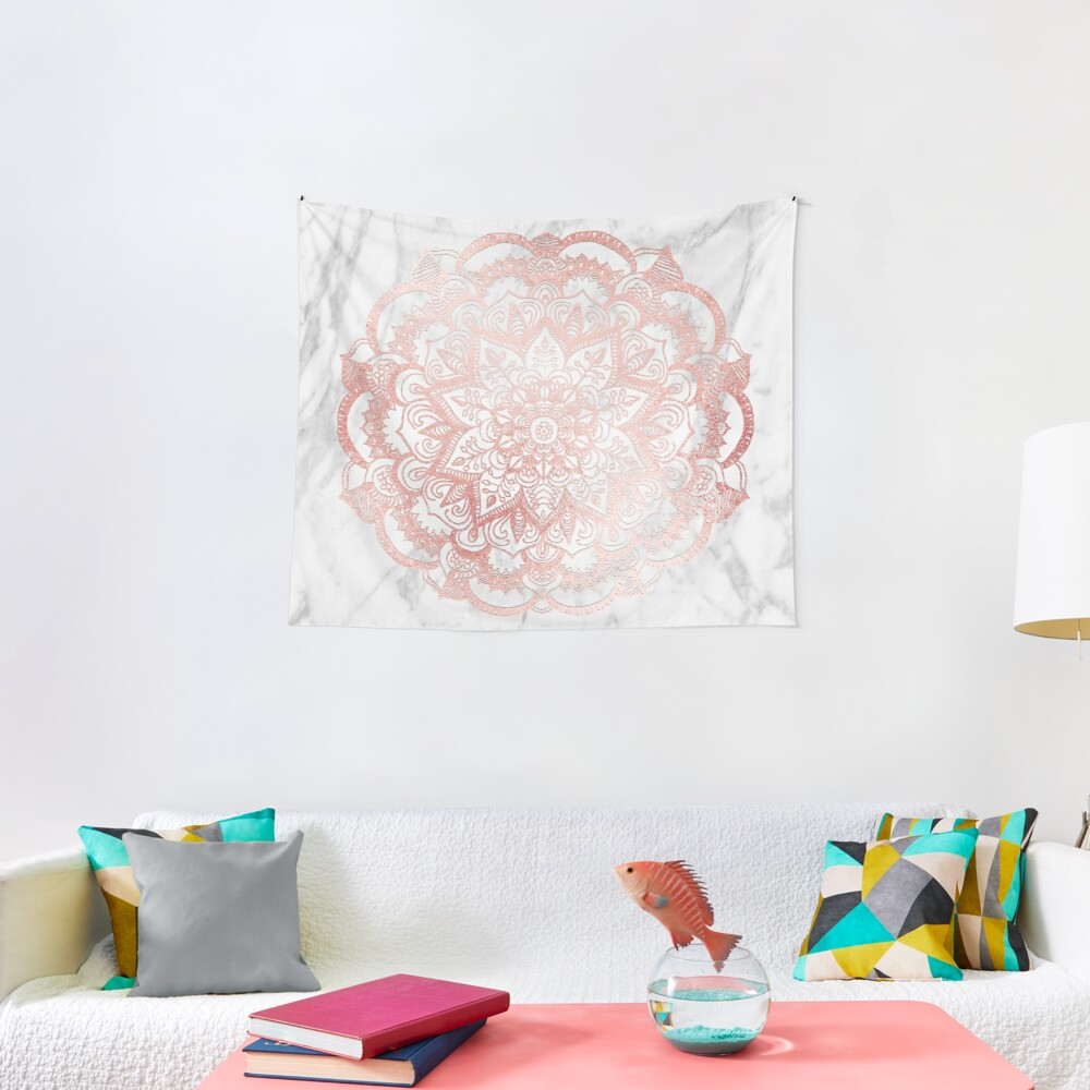 Rose Gold Mandala Star Tapestry