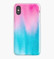 Bright pink and blue watercolor texture iPhone Case/Skin