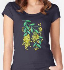 Golden Wattle - Navy Women's Fitted Scoop T-Shirt