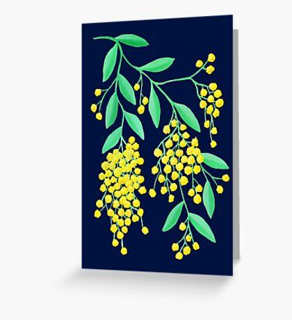 Golden Wattle - Navy Greeting Card