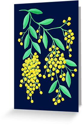 Golden Wattle - Navy by makemerriness