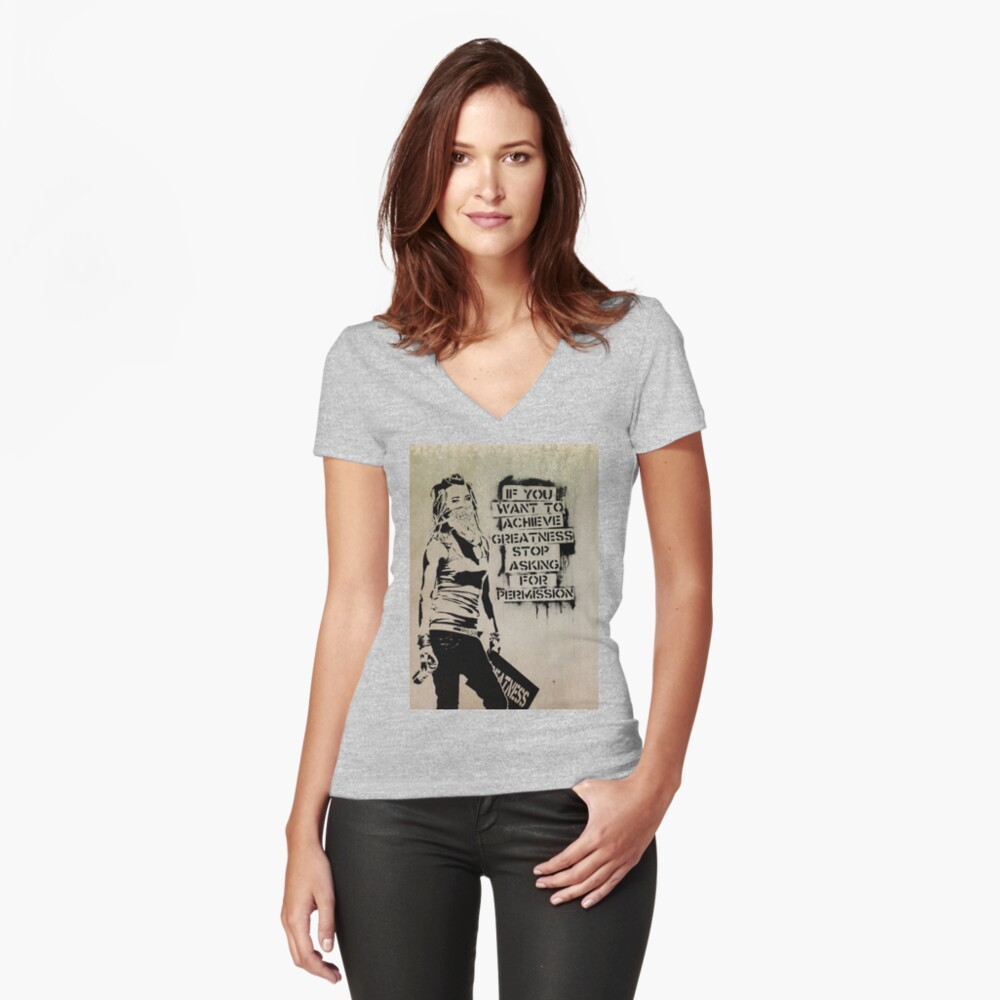 Banksy, greatness Fitted V-Neck T-Shirt