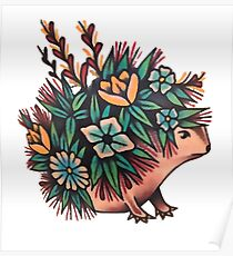 Cute Hedgehog With Flowers Poster