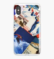 Vintage Skiing Travel poster collage iPhone Case/Skin