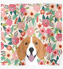 Beagle floral dog breed pet lover dog head with flowers beagles gifts Poster