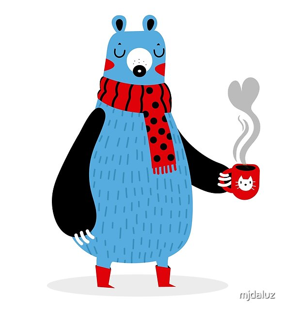 Bear and coffee by mjdaluz