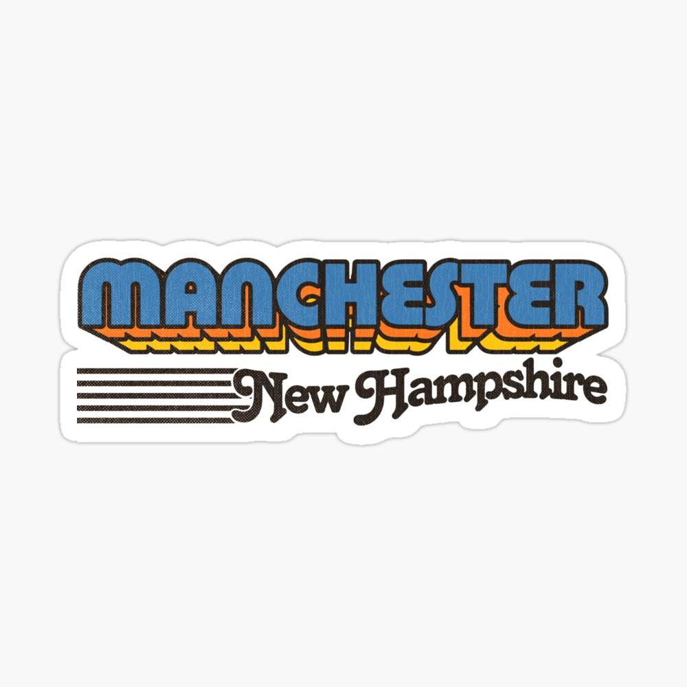 Manchester, New Hampshire   Retro Stripes Sticker