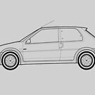Peugeot 106 GTI Outline Drawing by RJWautographics