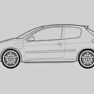 Peugeot 206 GTI Outline Drawing by RJWautographics
