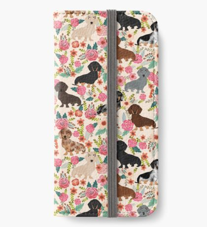 Dachshund floral dog breed pet patterns doxie dachsie gifts must haves iPhone Wallet