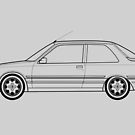 Peugeot 309 GTI Outline Drawing by RJWautographics