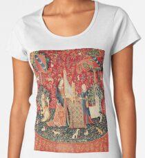 Camiseta premium para mujer UNICORN Y LADY PLAYING ORGAN CON ANIMALES, Audiencia