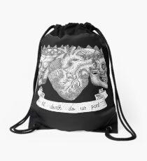 'Til Death Do Us Part, Life and Death Illustration Drawstring Bag