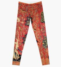 LADY AND UNICORN ,TOUCH ,Lion,Fantasy Flowers,Animals Red Green Floral Leggings