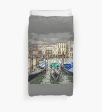 Rainy day on The Grand Canal in Venice Duvet Cover