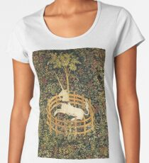 UNICORN AND GOTHIC FANTASY FLOWERS,FLORAL MOTIFS Women's Premium T-Shirt