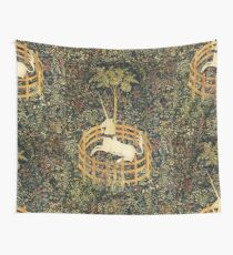 UNICORN AND GOTHIC FANTASY FLOWERS,FLORAL MOTIFS Tapestry
