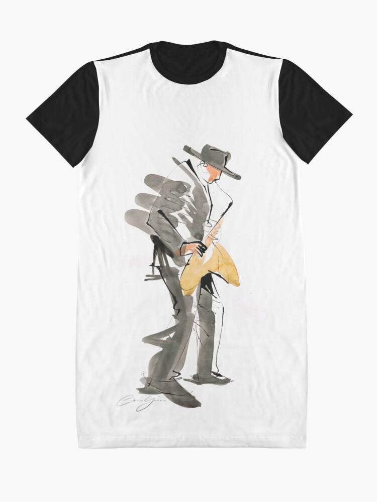 Alternate view of Musician Jazz Saxophone Graphic T-Shirt Dress