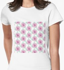 Bouquet from peony, chrysanthemum, watercolor Women's Fitted T-Shirt