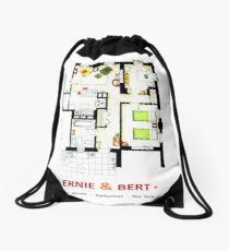 Floorplan of Ernie & Bert's apartment from Sesame St Drawstring Bag