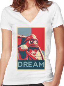 Dedede For President Women's Fitted V-Neck T-Shirt