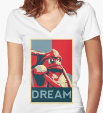 Dedede For President Women's Fitted V-Neck T-Shirt