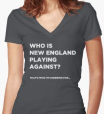 """Who is New England playing against?"" - Funny Super Bowl Shirt Women's Fitted V-Neck T-Shirt"