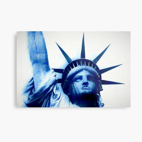 Lady Liberty in Blue Metal Print