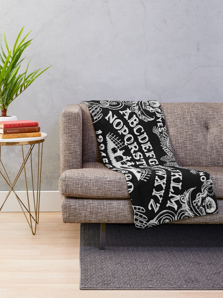Alternate view of black ouija Throw Blanket