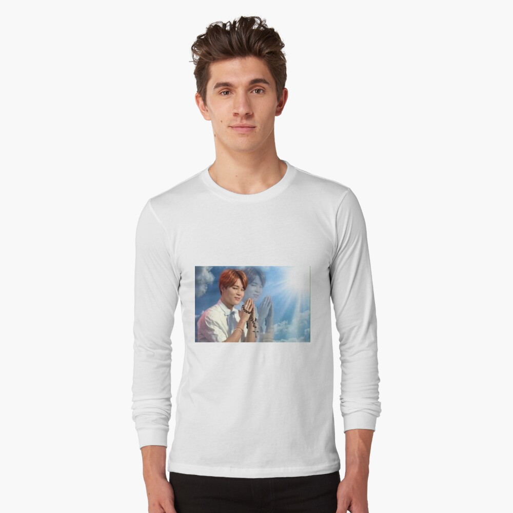 BTS Jimin meme de oración Camiseta de manga larga