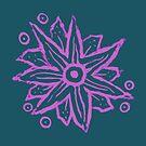 Purple Wood Block Print Flowers by melasdesign