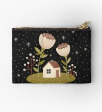 Tiny house among flowers Studio Pouch
