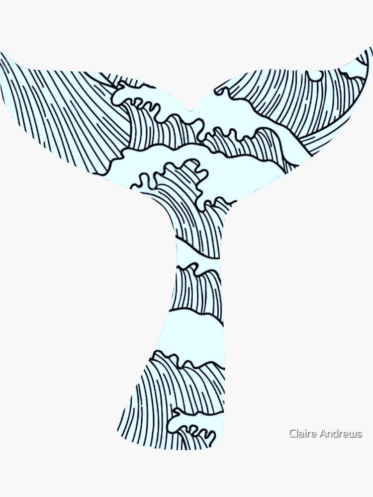 Dibujado a mano las olas en la cola de ballena de Claireandrewss