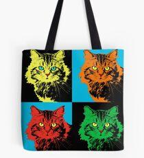 CAT POP ART  YELLOW RED GREEN Tote Bag